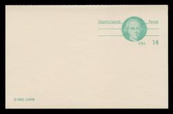 U.S. Scott # UY 36, 1985 14c Charles Carroll - Patriot Series - Mint Message-Reply Card - FOLDED