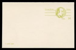 U.S. Scott # UY 37, 1985 14c George Wythe - Patriot Series - Mint Message-Reply Card - FOLDED
