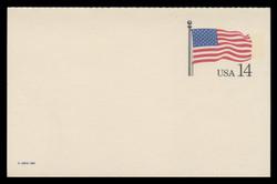 U.S. Scott # UY 38, 1987 14c Stars and Stripes - Mint Message-Reply Card - FOLDED