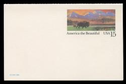 U.S. Scott # UY 39, 1988 15c America the Beautiful - Buffalo & Prairie - Mint Message-Reply Card, HIGH BRIGHT FLUORESCENT PAPER - FOLDED