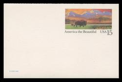 U.S. Scott # UY 39D, 1988 15c America the Beautiful - Buffalo & Prairie - Mint Message-Reply Card, DULL PAPER - FOLDED