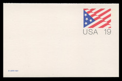 U.S. Scott # UY 40, 1991 19c U.S.A. - Stylized Flag - Mint Message-Reply Card - FOLDED
