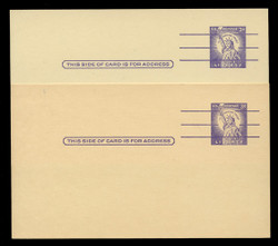 U.S. Scott # UX  46d/UPSS #S65, 1961 3c Statue of Liberty, Precancelled with 3 lines - Mint Postal Card, DARK PAPER VARIETY