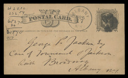 "U.S. Scott # UX   4, 1875 1c Liberty Head, black on buff - ""Write the Address"" with Watermark - Used Postal Card"