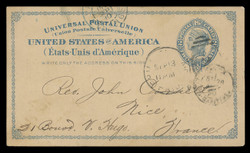U.S. Scott # UX   6, 1879 2c Liberty Head, blue on buff with border & Small Margin - Used Postal Card
