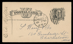 "U.S. Scott # UX   7, 1881 1c Liberty Head, black on buff - ""Nothing but the Address"" - Used Postal Card"
