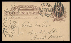 U.S. Scott # UX   8, 1885 1c Thomas Jefferson, brown on buff - Used Postal Card