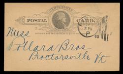U.S. Scott # UX   9a, 1886 1c Thomas Jefferson, black on dark buff - Used Postal Card