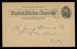 U.S. Scott # UX  10T2, 1891 1c Ulysses S. Grant, black on buff, Type II - Used Postal Card (See Warranty)