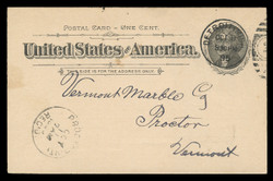 U.S. Scott # UX  12/UPSS # S14, 1894 1c Thomas Jefferson, black on buff, Flat Press - Used Postal Card (See Warranty)