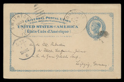 U.S. Scott # UX  13, 1897 2c Liberty Head, blue on buff with border & Large Margin - Used Postal Card