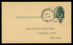 U.S. Scott # UX  27 /UPSS #S37ECANARY, 1914 1c Thomas Jefferson, green on canary - Used Postal Card