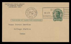 U.S. Scott # UX  28/UPSS #S40-2B, 1917 1c Abraham Lincoln, Head 2, green on buff - Used Postal Card (See Warranty)