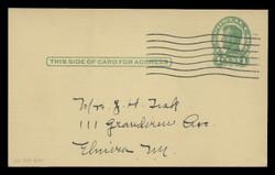 U.S. Scott # UX  28/UPSS #S40-3B, 1917 1c Abraham Lincoln, Head 3, green on buff - Used Postal Card (See Warranty)