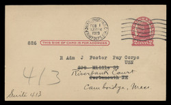 U.S. Scott # UX  29a, 1917 2c Thomas Jefferson, lake on cream, Die 1 - Used Postal Card