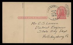 "U.S. Scott # UX  29/UPSS #S41xD , 1917 2c Thomas Jefferson, red on cream, Die 1, Dash in ""P"" Variety - Used Postal Card"