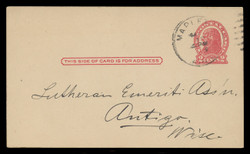 """U.S. Scott # UX  29/UPSS #S41xS , 1917 2c Thomas Jefferson, red on cream, Die 1, Small """"THI"""" in """"THIS"""" Variety - Used Postal Card"""