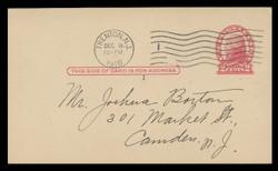 U.S. Scott # UX  30, 1918 2c Thomas Jefferson, red on cream, Die 2 - Used Postal Card