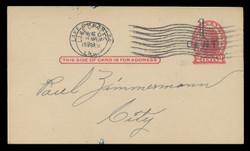 U.S. Scott # UX  32, 1920 1c on 2c Thomas Jefferson (UX29), red on buff, Die 1 - Used Postal Card