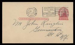 U.S. Scott # UX  33, 1920 1c on 2c Thomas Jefferson (UX30), red on buff, Die 2 - Used Postal Card