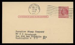 U.S. Scott # UX  38/UPSS #S54B, 1951 2c Benjamin Franklin, carmine rose on buff, Type 2 - Used Postal Card (See Warranty)