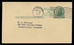 U.S. Scott # UX  39/UPSS #S56-1, 1952 2c on 1c Thomas Jefferson (UX27), green on buff - Used Postal Card (See Warranty)