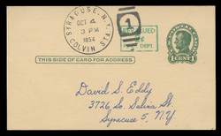U.S. Scott # UX  40/UPSS #S58-1H2, 1952 2c on 1c Abraham Lincoln (UX28), Head 2, green on buff - Used Postal Card (See Warranty)