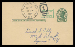 U.S. Scott # UX  40/UPSS #S58-1H3, 1952 2c on 1c Abraham Lincoln (UX28), Head 3, green on buff - Used Postal Card (See Warranty)