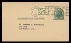 U.S. Scott # UX  41, 1952 2c on 1c Thomas Jefferson (UX27), green on buff, press-printed surcharge - Used Postal Card