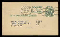 """U.S. Scott # UX  42a/UPSS #S59bN-H3, 1952 2c on 1c Abraham Lincoln (UX28), Notch in """"D"""", green on buff, Head 3, offset press-printed surcharge - Used Postal Card (See Warranty)"""