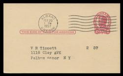 U.S. Scott # UX  43, 1952 2c Abraham Lincoln, carmine on buff - Used Postal Card