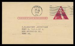 U.S. Scott # UX  44, 1956 2c FIPEX Exhibition - Used Postal Card