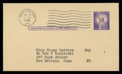 U.S. Scott # UX  46/UPSS #S63 Type 1, 1958 3c Statue of Liberty - Used Postal Card (See Warranty)