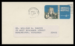 U.S. Scott # UX  60, 1971 6c America's Hospitals - 200th Anniv. New York Hospital - Used Postal Card