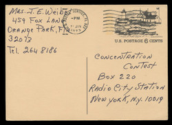 U.S. Scott # UX  63, 1972 6c Tourism - Gloucester, Massachusetts - Used Postal Card