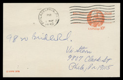 U.S. Scott # UX  75, 1978 10c John Hancock - Patriot Series - Used Postal Card, DULL PAPER (See Warranty)
