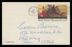 U.S. Scott # UX  77, 1978 10c Molly Pitcher, Monmouth - Patriot Series - Used Postal Card