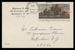 U.S. Scott # UX  78, 1979 10c George Rogers Clark, Vincennes - Patriot Series - Used Postal Card