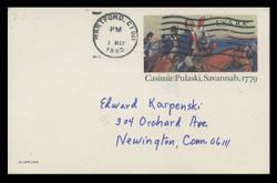 U.S. Scott # UX  79, 1979 10c Casimir Pulaski, Savannah - Patriot Series - Used Postal Card