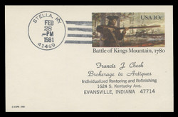 U.S. Scott # UX  85, 1980 10c Battle of Kings Mountain - Patriot Series - Used Postal Card
