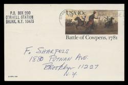 U.S. Scott # UX  87, 1981 10c Battle of Cowpens - Patriot Series - Used Postal Card