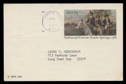 U.S. Scott # UX  90, 1981 12c Nathanael Greene, Eutaw Springs - Patriot Series - Used Postal Card