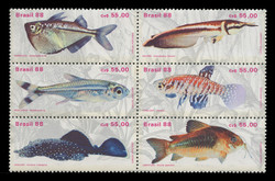 BRAZIL Scott # 2157, 1988 Fresh Water Fish (Block of 6)