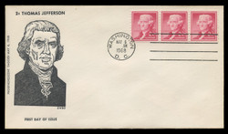U.S. Scott # 1055b, 2c Thomas Jefferson, Tagged Coil, Strip of 3 on FDC, Newly-Discovered Large Hole Variety