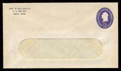U.S. Scott # U 534d/12-WINDOW, UPSS #3378a/46 1950 3c Washington, Die 5 - Mint (See Warranty)