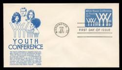 U.S. Scott #U555 6c Youth Conference Envelope First Day Cover.  Anderson cachet, BLUE variety.