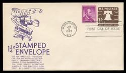 U.S. Scott #U547 1 1/4c Liberty Bell Envelope First Day Cover.  Anderson cachet, PURPLE variety.