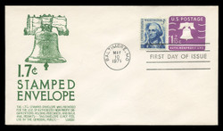 U.S. Scott #U556 1.7c Liberty Bell Envelope First Day Cover.  Anderson cachet, GREEN variety.