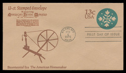 U.S. Scott #U572 13c Bicentennial - American Homemaker Envelope First Day Cover.  Anderson cachet, BROWN variety.