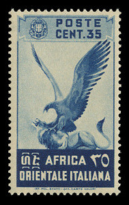 ITALIAN EAST AFRICA Scott #  9, 1938 35c sapphire Eagle and Lion